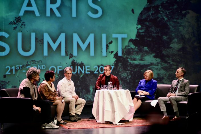 Panel conversation moderated by Artur Wilczynski, Canada ́s ambassador to Norway. Photo: Pernille Ingebrigtsen / Arctic Arts Summit 2017 / Harstad, Norway